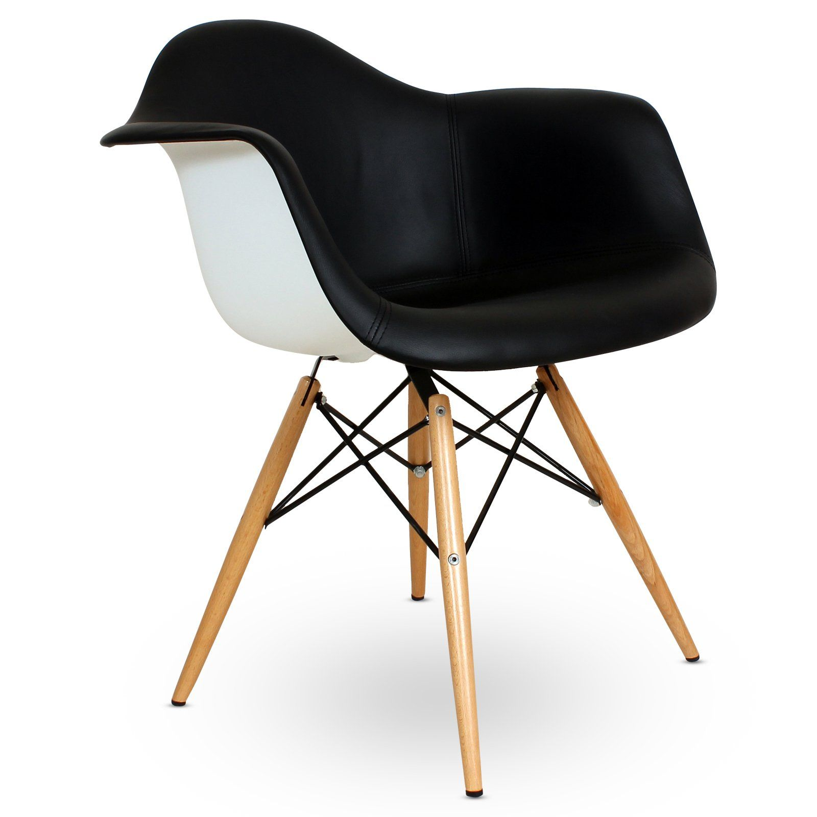 $152 Vinyl Covered Shell Chair with Wood Legs at the Foundary