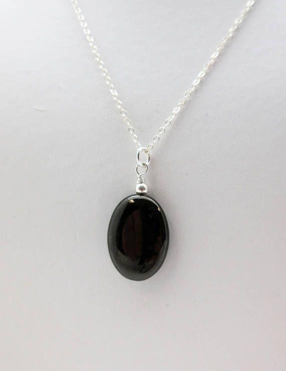 Rolo Diamond Cut Chain Black Square Pendant Black Jet Stone Pendant Black Square Sterling Silver Necklace Minimalist Necklace Everyday