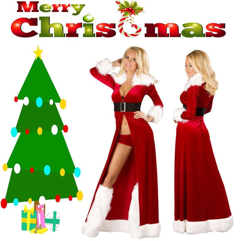 Women Santa Claus Christmas Costume Cosplay Xmas Fancy Dress Outfits Coat Gift Fashion Clothing Shoe Xmas Fancy Dress Christmas Costumes Fancy Dress Outfits