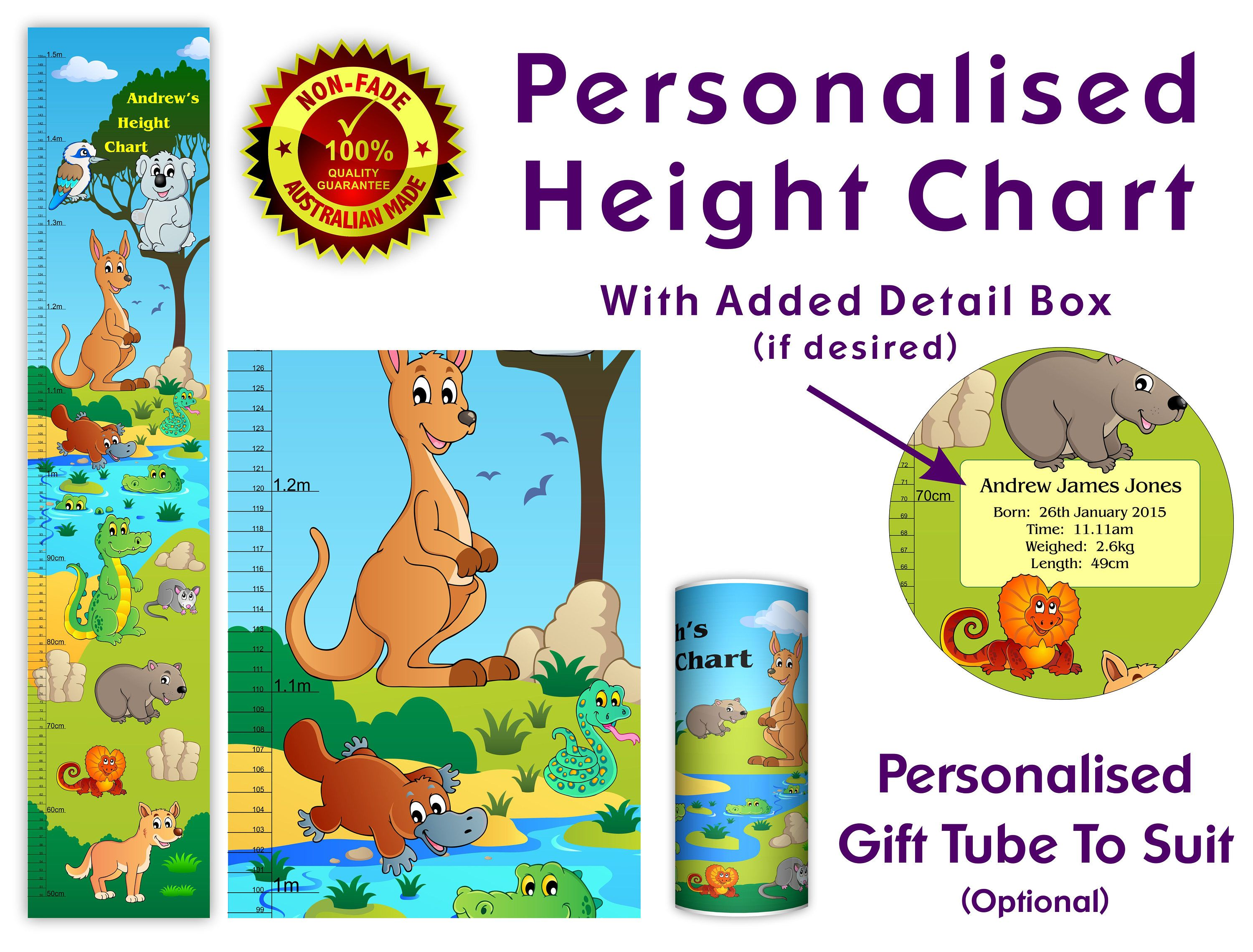 Height Chart Growth Australian Gift For Baby Or Kids Room Child