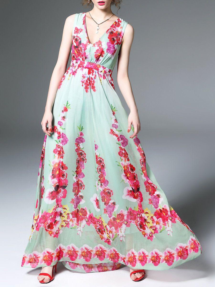 Adorewe mooerkerr multicolor swing sleeveless floralprint maxi