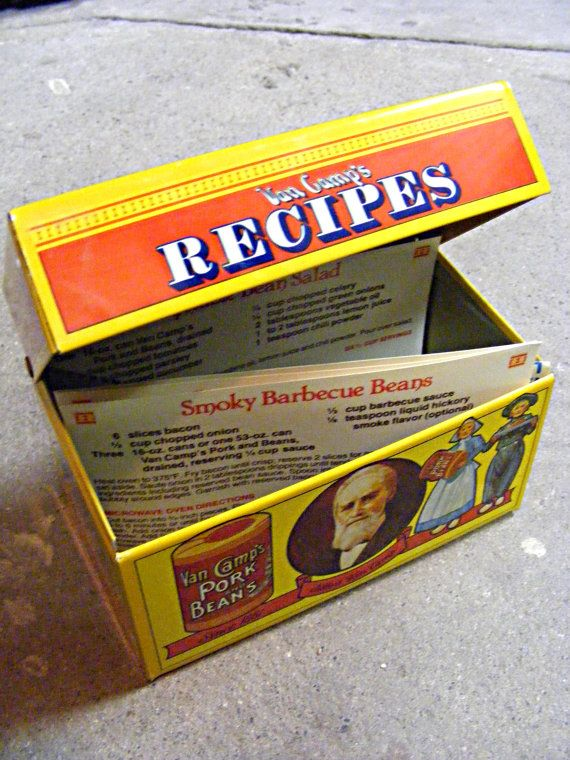 Recipe box From Van Camps 1986 by ScribbleFitz on Etsy, $20.00