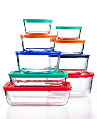 Pyrex 18 Piece Food Storage Container Set Pantry Organization For The Home Macy S