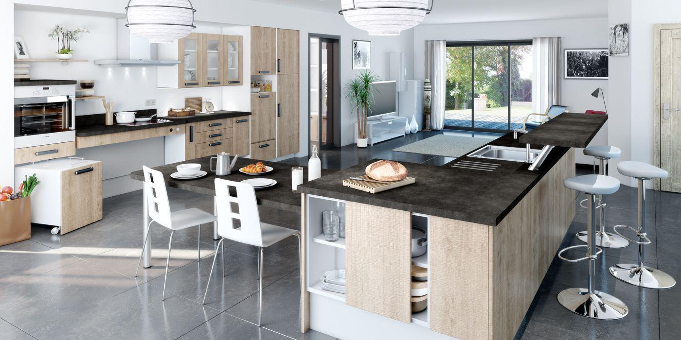 cuisine avec lot aspect bois cuisine mobile volutive qui s 39 adapte la taille de chaque. Black Bedroom Furniture Sets. Home Design Ideas