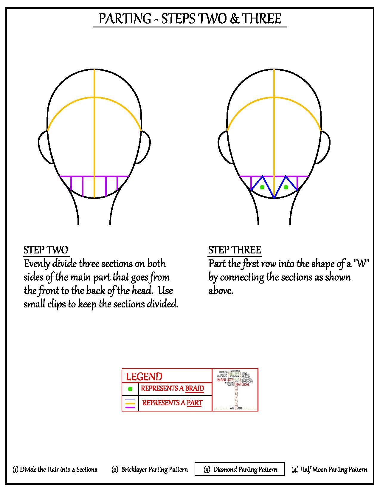 Parting the Hair – Diamond Parting Pattern | Pinterest | Curlys y Trenza