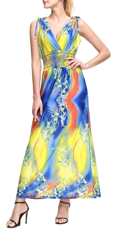 64526744174f Women s Beach Dress Bohemian Maxi Dress Plus Size - Yellow ...