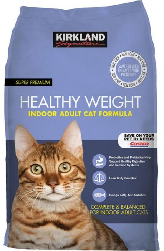 Kirkland Signature™ Super Premium Healthy Weight Indoor Adult Cat Formula is specially designed to be nutritionally balanced to help indoor adult cats achieve and maintain a lean body condition.