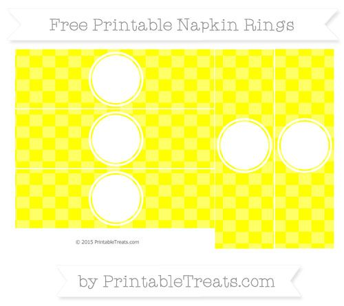 Free Yellow Checker Pattern  Blank Napkin Rings