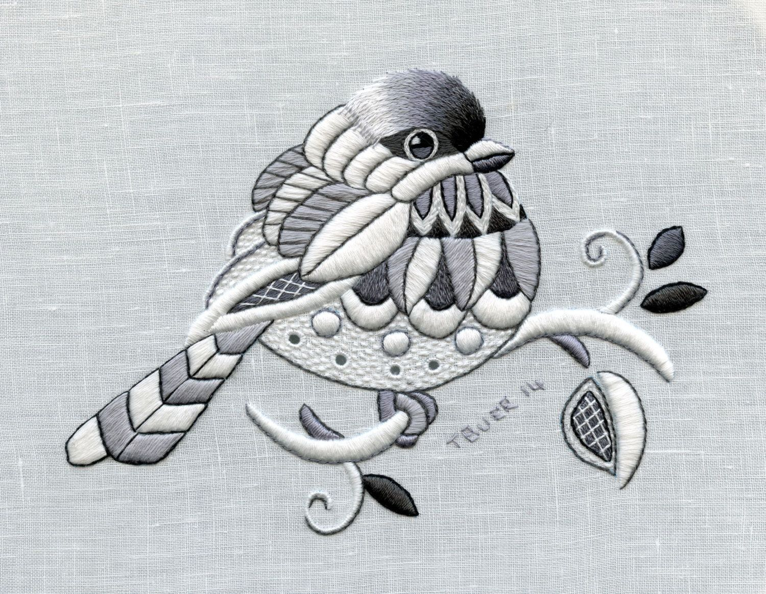 Whitework Embroidery Kit: Chickadee by TRISHBURREMBROIDERY | птичка ...