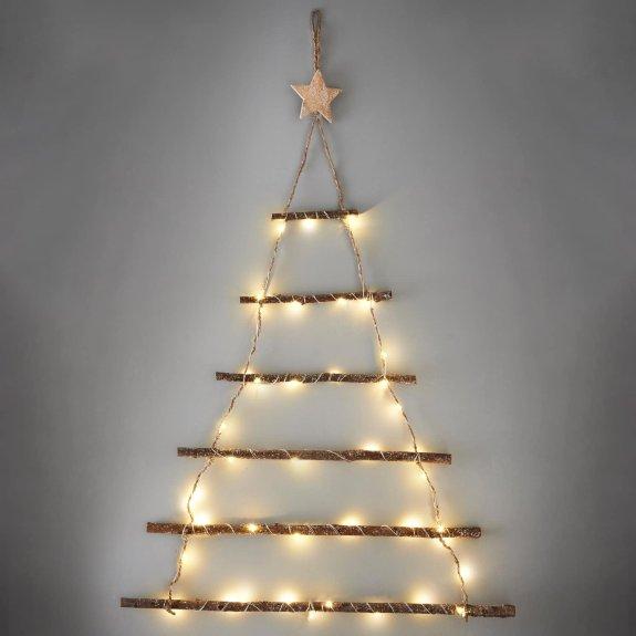Lit Twig Wall Christmas Tree Atmosfera y Navidad