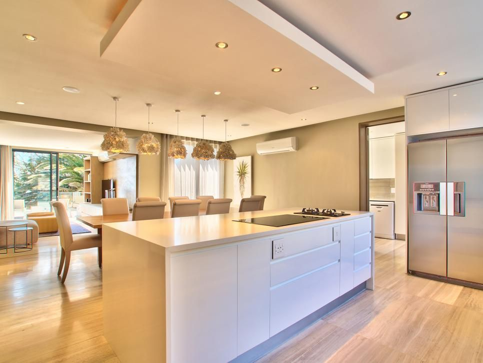 Drop Ceiling Adds Depth And Dimension In Neutral Contemporary Kitchen Kitchen Ceiling Design Dropped Ceiling Led Kitchen Ceiling Lights