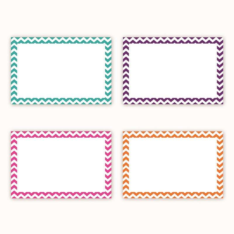 Border Index Cards 4 X 6 Blank Chevron By Top Notch Teacher Products Index Cards K12schoolsupplies Net Note Card Template Note Cards Flash Card Template
