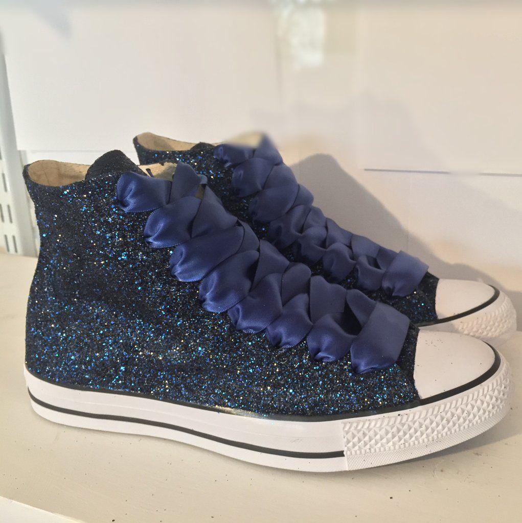 e38fe4b6eb8 Women s Sparkly Navy Blue Glitter Converse All Stars high top wedding bride  shoes