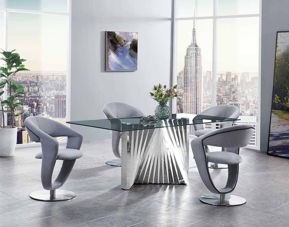 D2056 Dining Room Set W Grey Swivel Chairs Glass Top Dining