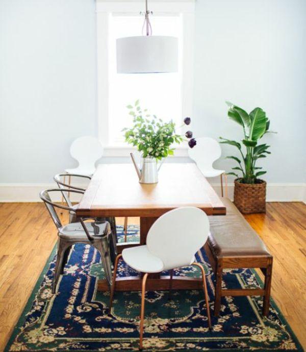 Stühle perserteppich Esstisch holz modern weiß Essplatz und - interieur in weis und holz modern design