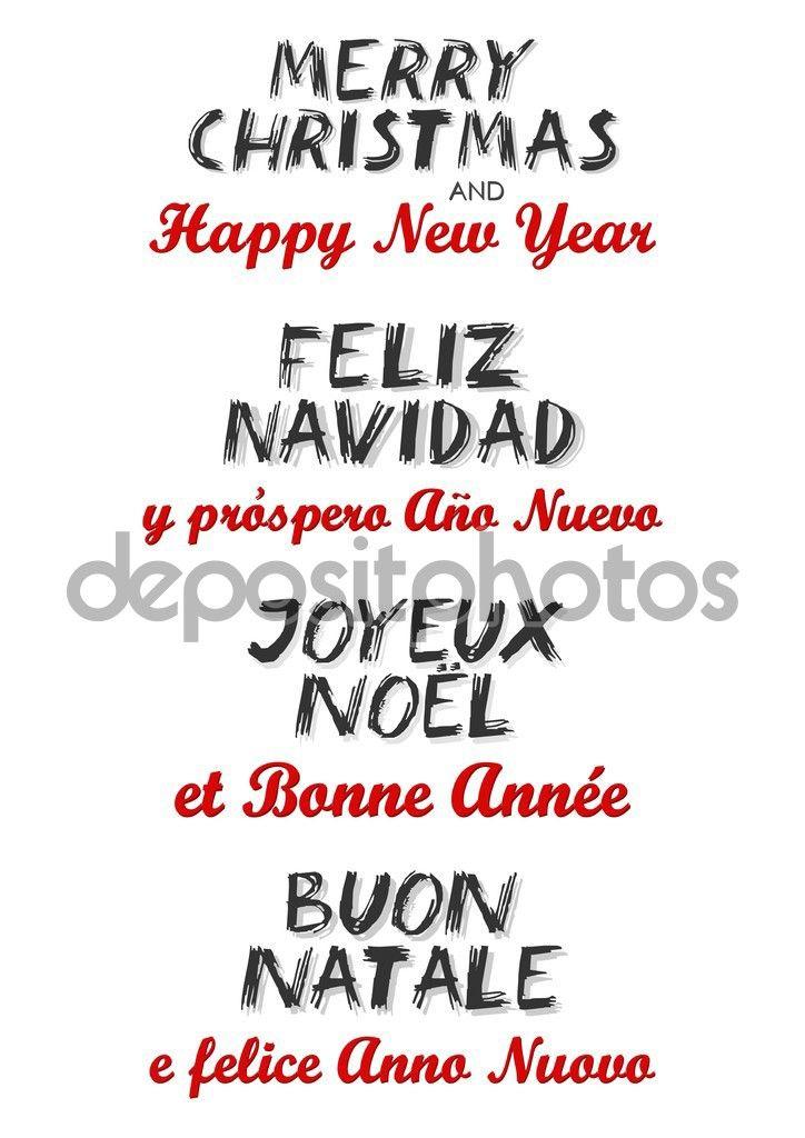 Babbo Natale In Spagnolo.Buon Natale E Felice Anno Nuovo In Inglese Spagnolo Francese