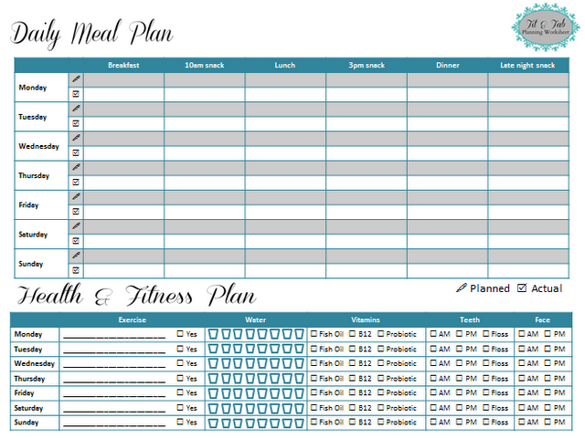 Weekly Health And Fitness Planning Worksheet Pin For Getting Into