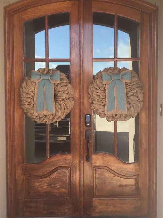 Front Door Wreath for Fall French Door Wreaths, Burlap Wreath ...
