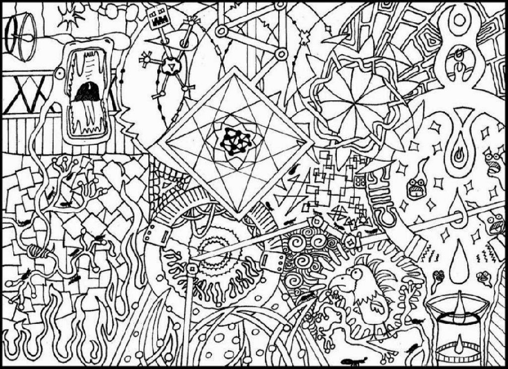 hard trippy doodle coloring page free adults printable - Free Difficult Coloring Pages
