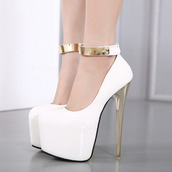 Women s White Ankle Strap Super Stiletto Heel Platform Stripper Heels ( 80)  ❤ liked on Polyvore featuring shoes 0c39742b6df1