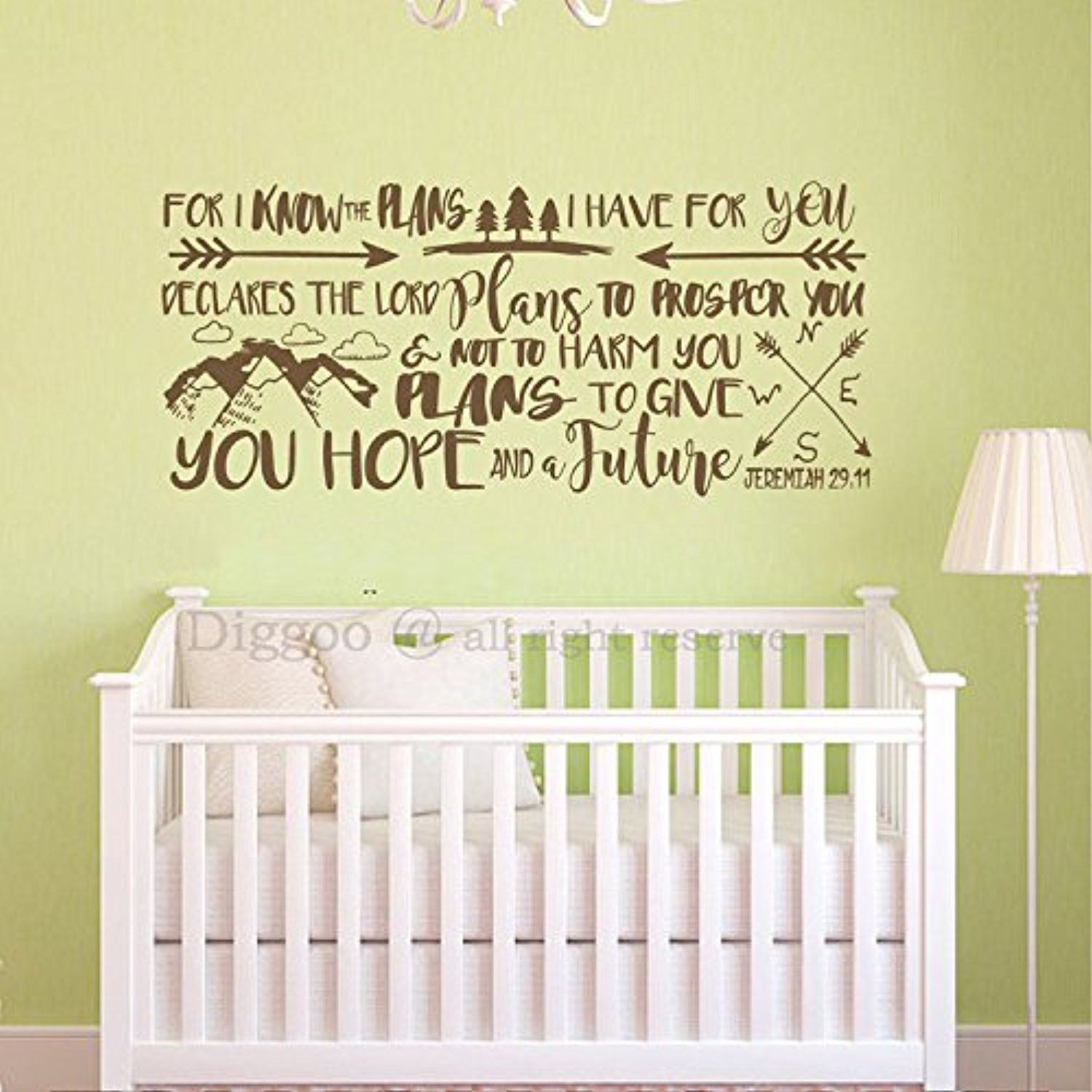 Scripture Wall Decal - Baby Nursery Wall Decals - For I Know Plans I ...