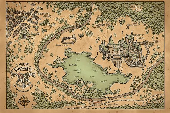 A Map of Hogwarts and Surrounding Areas in 2019 | Harry ...