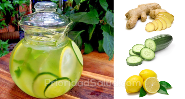 agua de pepino limon y jengibre para adelgazar