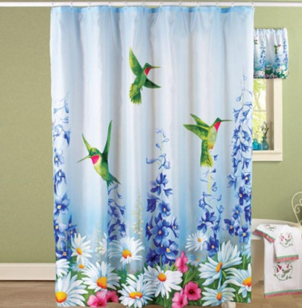 Hummingbird Bath Decor Shower Curtain Bath Mat Valance Nonskid Bathroom Rug  Home #Unbranded #Novelty