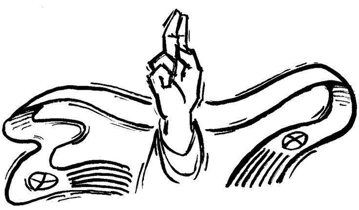 Symbols: This drawing of a raised hand symbolizes