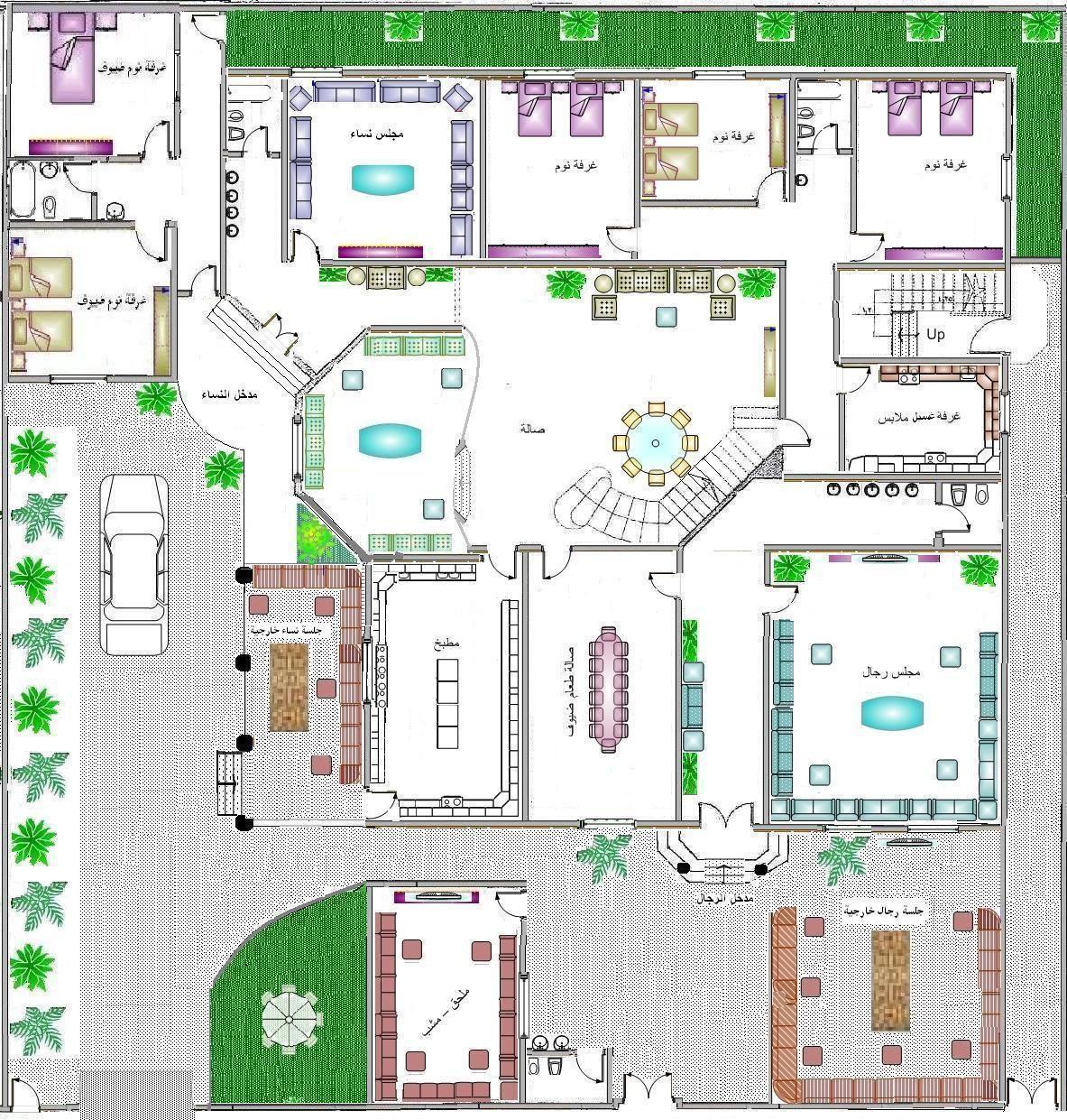 من يبحث عن مخططات دور ارضي كامل هنا مخططات رائعه منتديات شبكة المهندس Model House Plan Modern House Design House Design