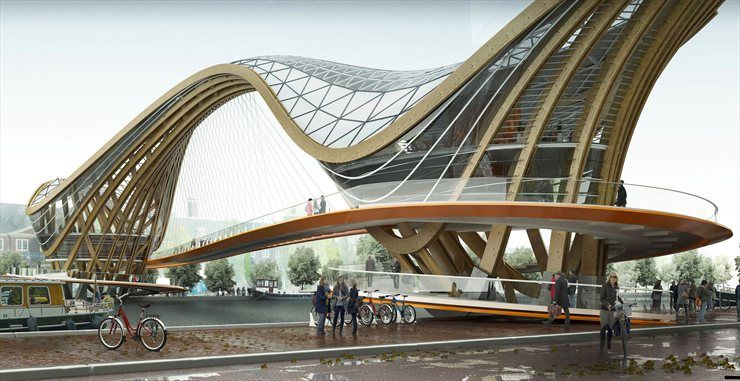 Footbridge Cafe Restaurant Bike Store Saint Val Laurent Arch2o Com Bridge Design Architecture Futuristic Architecture