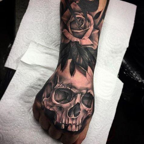 962eaf545d3bd Tattooed skull and rose hand tattoo by Bobby Loveridge @bobbalicious_tattoo  black blackandgray churchyardtattoostudio uk skull rose