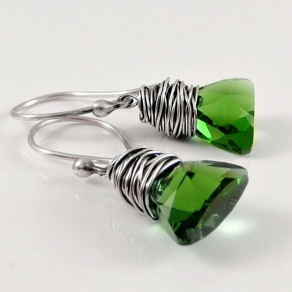 Xilion Crystal Earrings, Green  Crystal Earrings, Faceted Crystals, Gifts for Her, Holiday Jewelry by adorned7 on Etsy