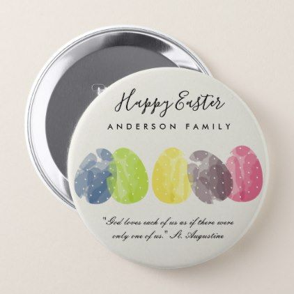 Modern colorful watercolor easter eggs personalize button modern colorful watercolor easter eggs personalize button romantic wedding gifts wedding anniversary marriage party negle Image collections
