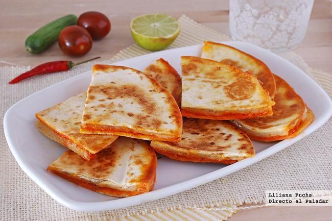 Receta de quesadillas de sobrasada con queso Havarti. Con fotos del paso a paso, consejos y sugerencias de degustación. Recetas de tapas y aperitivos