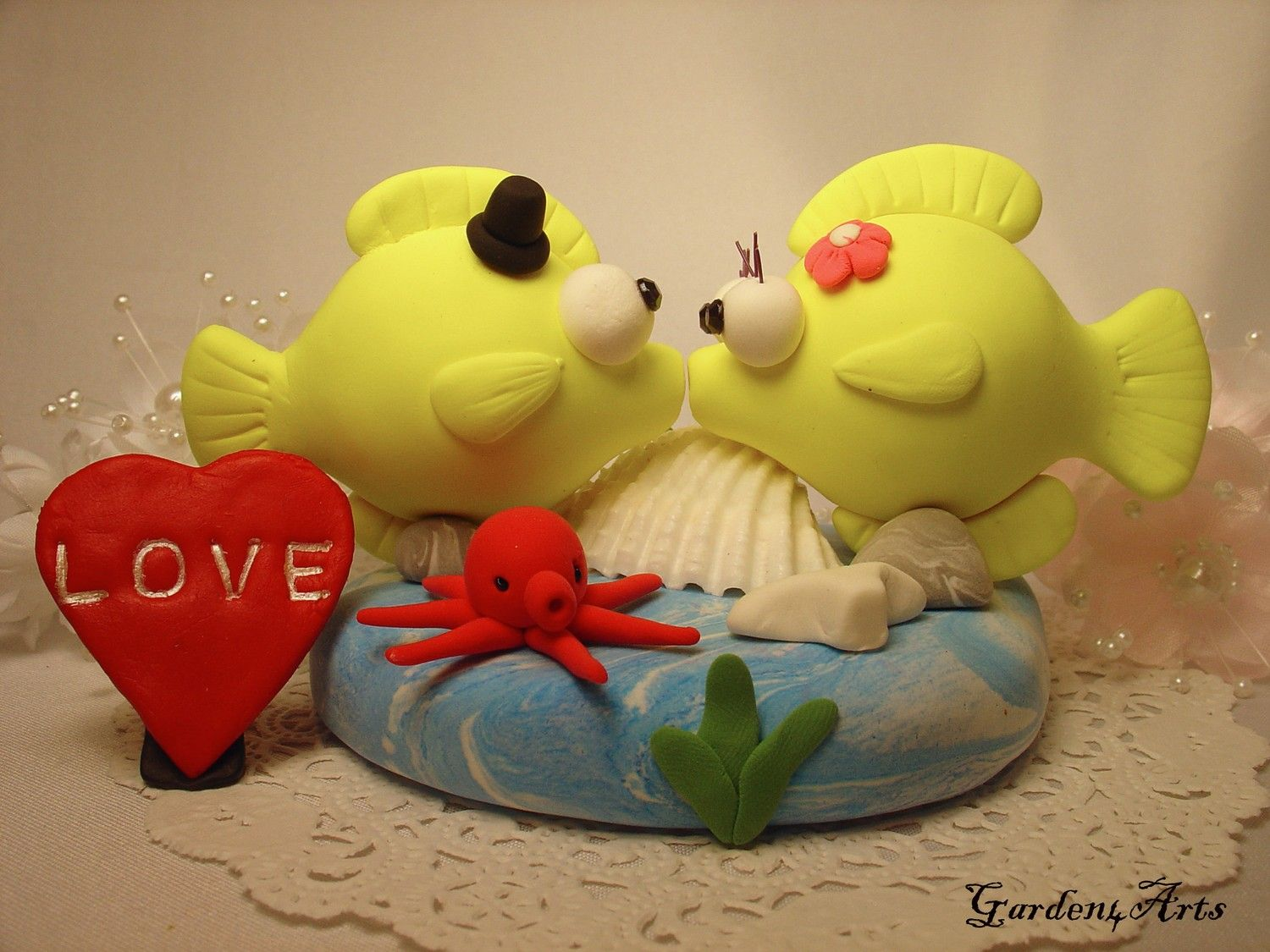 Kiss Fish w/ Octopus | Cakes | Pinterest | Custom wedding cake ...