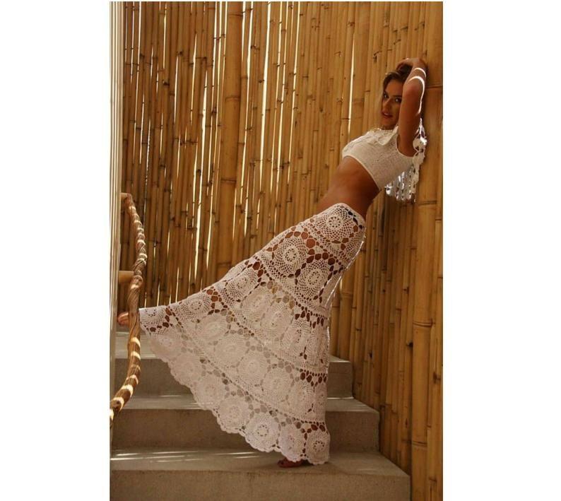Maxi skirtboho crochet white wedding long skirt white | Etsy