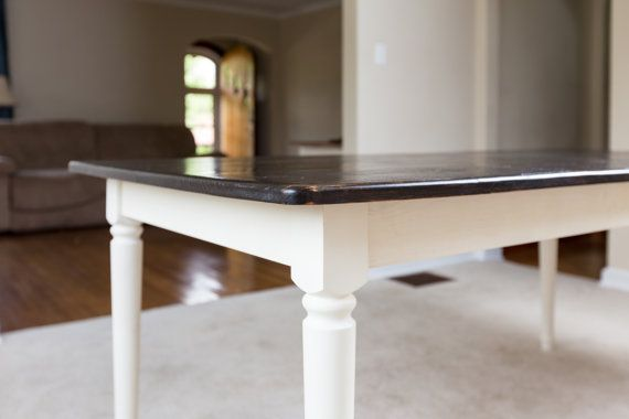 dark walnut rustic dining table farm style solid pine wood kitchen table antique old white. Black Bedroom Furniture Sets. Home Design Ideas