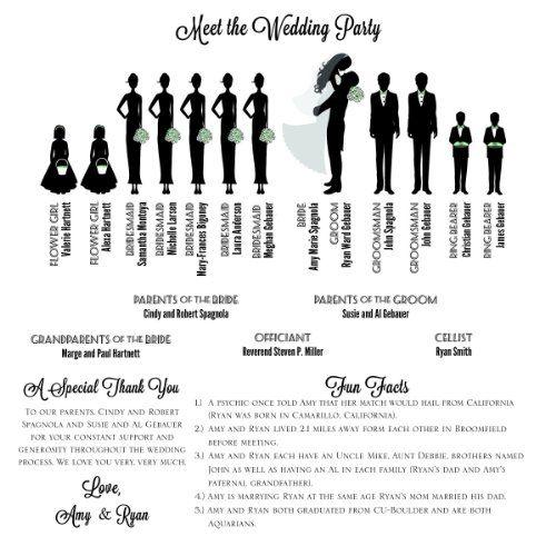 Amazon Silhouette Wedding Program Large 16 Figures Maximum Handmade