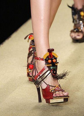 "Louis Vuitton ""Spicy"" sandal from SS09. A great mishmash of colors and materials. Still so in love."