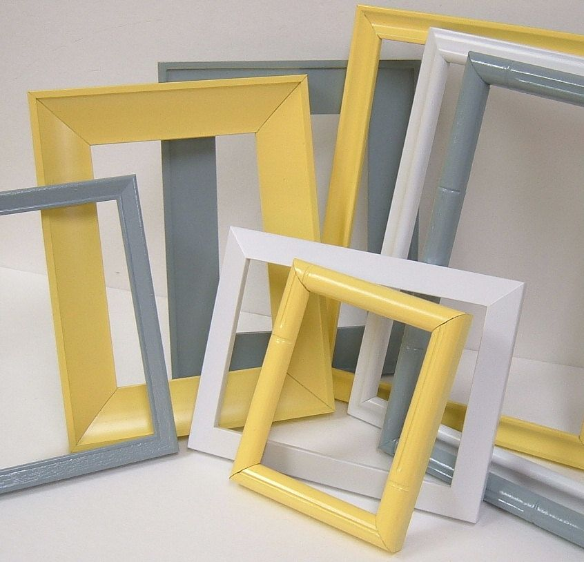 Home Decor Gallery Part - 47: Yellow And Grey Home Decor Picture Frames Modern Wall Decor Gallery Frame  Set. $46.00,
