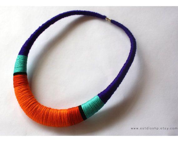 Collar naranja con violeta  collar declaración por Estdioshp