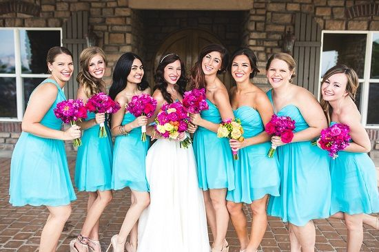 Sea Foam Wedding Turquoise And Fuchsia Bouquets