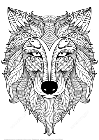 Lobo Zentangle Dibujo para colorear | Colorear | Pinterest | Wolf ...