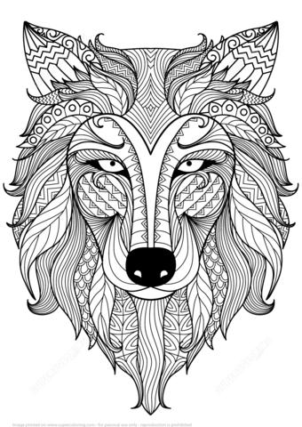 Wolf Zentangle Ausmalbild