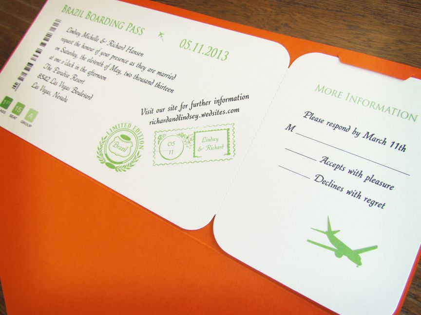 A Orange Jacket Boarding Pass Invitations These Boarding Pass