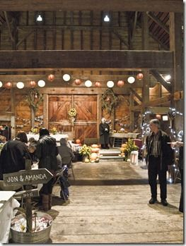 Windfall Dutch Barn Decorated For An Autumn Wedding Imagine Tulle Mason Jars Tea Lights White Linens