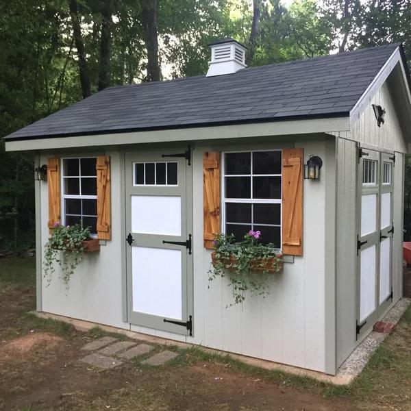 Riverside 10 ft. W x 12 ft. D Wood Storage Shed Backyard