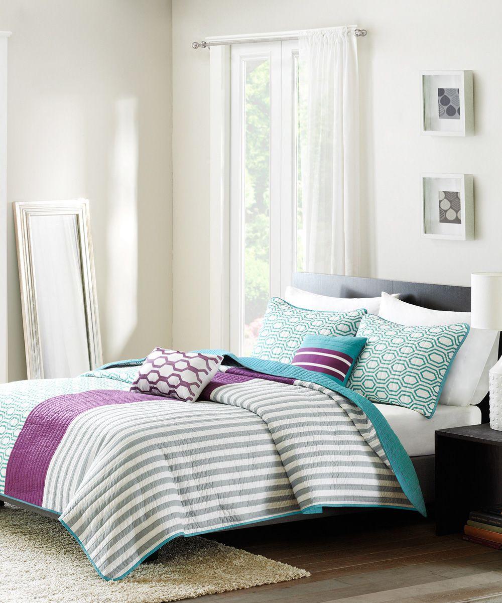Jla Home Purple Amp Teal Stripe Quilt Set Purple Bedding