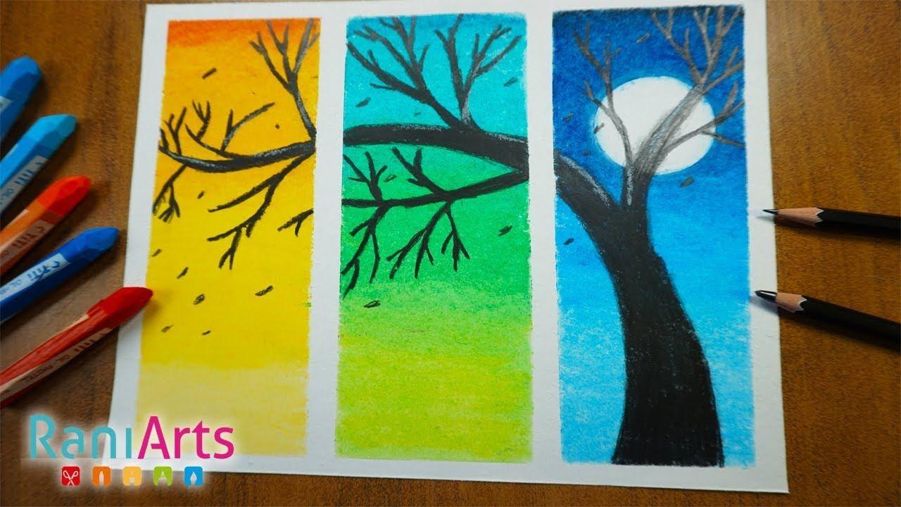 Paisaje Con Oleo Pastel Nivel Principiantes Facil Scenery With Oil Pa Dibujos Con Tiza Pastel Dibujos Con Colores Calidos Oleo Pastel